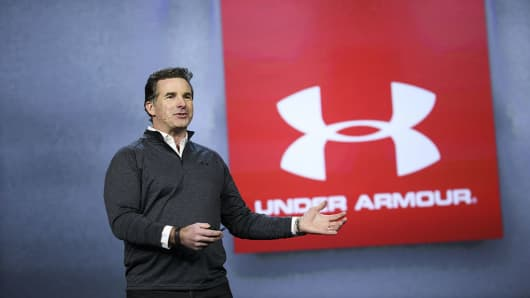 Kevin Plank, founder and chief executive officer of Under Armor Inc., speaks during the 2017 Consumer Electronics Show (CES) in Las Vegas, Nevada, U.S., on Friday, Jan. 6, 2017.