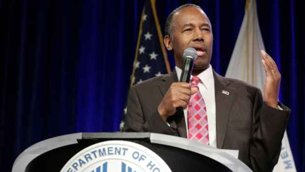 Secretary of Housing and Urban Development Ben Carson speaks to employees of the agency in Washington, U.S., March 6, 2017.