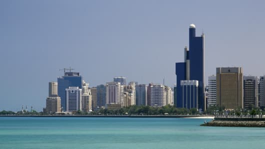 View of Abu Dhabi skyscrapers, United Arab Emirates.