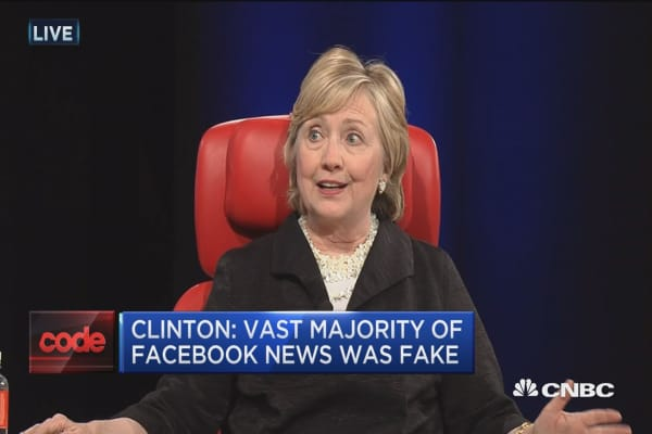 Clinton: Majority of news items posted on Facebook were fake