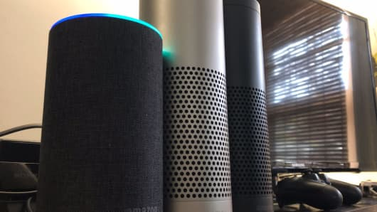 In order: The Echo, the Echo Plus and the original Echo