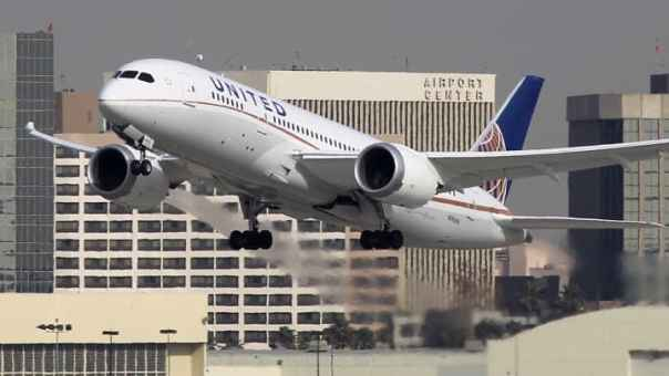 A Boeing 787 Dreamliner operated by United Airlines takes off from Los Angeles International Airport.