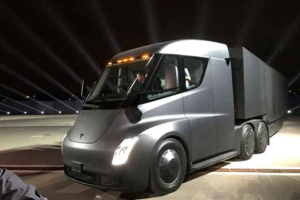 Tesla's new electric semi truck is unveiled during a presentation in Hawthorne, California, U.S., November 16, 2017.
