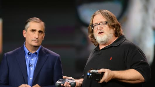Gabe Newell, right, co-founder of video game developer and distributor Valve.