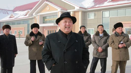 North Korea's leader Kim Jong Un is seen during the inspection of a potato flour factory in this undated photo released by North Korea's Korean Central News Agency (KCNA) in Pyongyang December 6, 2017.