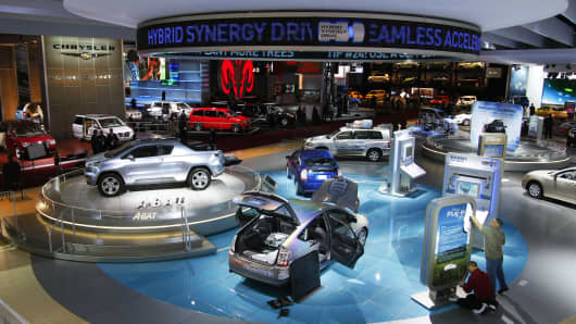 Part of the overall show floor seen during the press preview days at the North American International Auto show January 14, 2008 at Cobo Center in Detroit, Michigan. The NAIAS is the world's largest auto show.