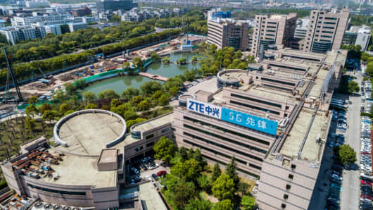 General view of a building of leading Chinese telecom equipment maker ZTE Corporation is seen on April 17, 2018 in Shanghai, China.