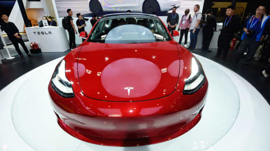 A Tesla Model 3 car is on display during the Auto China 2018 at China International Exhibition Center on April 25, 2018 in Beijing, China. second-largest institutional shareholder