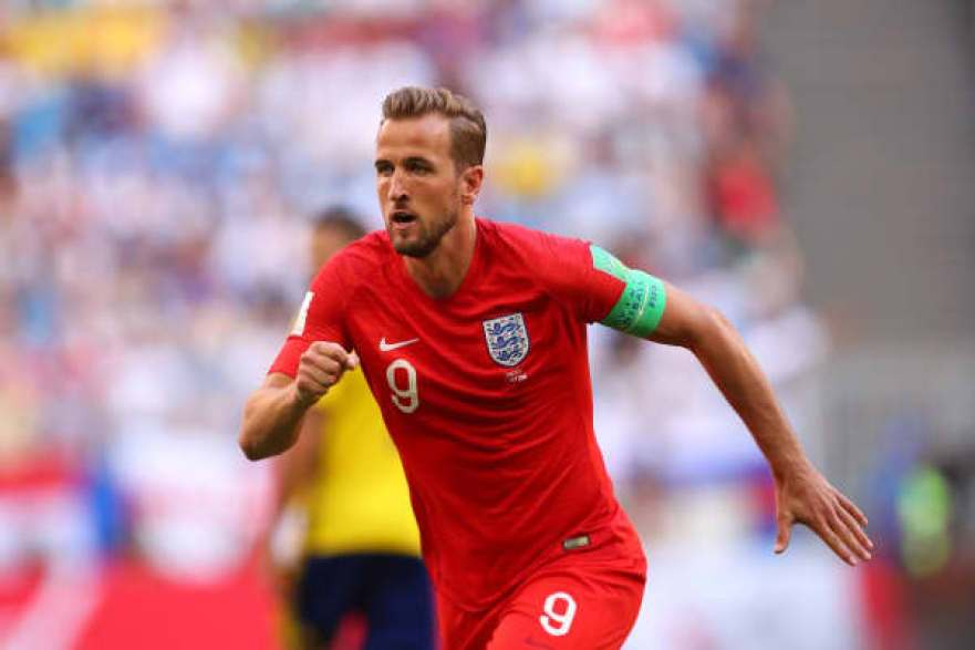 Harry Kane of England in action during the 2018 FIFA World Cup Russia Quarter Final match between Sweden and England at Samara Arena on July 7, 2018 in Samara, Russia.