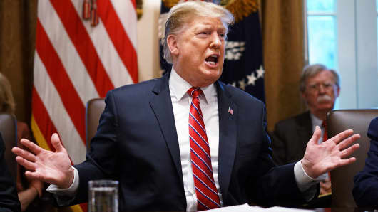 President Donald Trump speaks on February 12, 2019 during a Cabinet meeting in the White House Cabinet room in Washington, DC.
