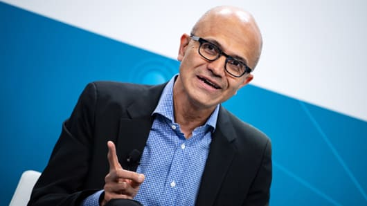 Satya Nadella, CEO of Microsoft, sits in the Volkswagen Digital Lab in Friedrichshain, Germany, for a joint press conference with the chairman of the board of management of Volkswagen on Feb. 27, 2019.