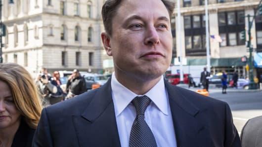 Elon Musk, Chief Executive Officer von Tesla Inc., kommt am Donnerstag, 4. April 2019, vor dem Bundesgericht in New York an.