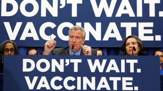New York City Mayor Bill de Blasio speaks during a news conference declaring a public health emergency in parts of Brooklyn in response to a measles outbreak, requiring unvaccinated people living in the affected areas to get the vaccine or face fines, in the Orthodox Jewish community of the Williamsburg neighborhood, in Brooklyn, New York City, April 9, 2019.