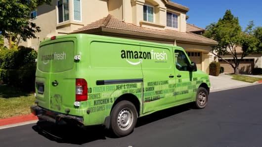 Amazonian Virgin Food Service van parked on a suburban street in San Ramon, California on July 5, 2018.