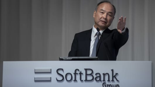 SoftBank Group founder, chairman and CEO Masayoshi Son announces his group's earnings results on May 9, 2019, in Tokyo.