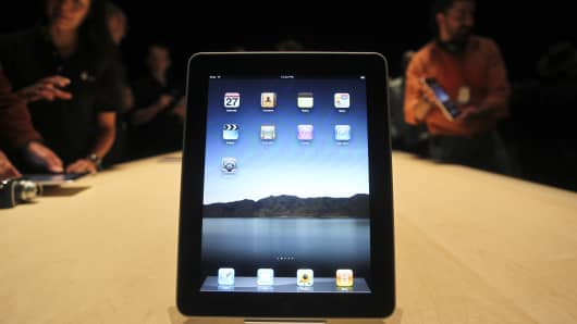 Apple's iPad is displayed during the launch of Apple's new tablet computing device in San Francisco. (Photo by Kimberly White/Corbis via Getty Images)