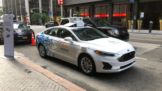 An Argo-modified Ford autonomous vehicle parked in Manhattan on Friday, July 12, 2019.