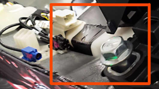 A photograph sent by a Tesla employee showing how electrical tape was used during Model 3 assembly.