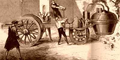 古い時代の蒸気自動車のイラスト