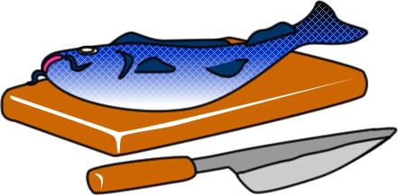 まな板の上に乗った鯉のイラスト