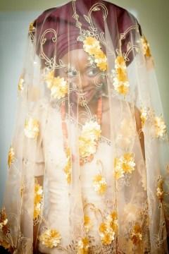 African bride - engagement gele + veil