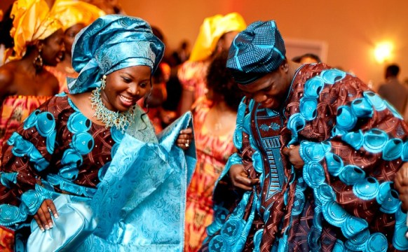 african wedding blue dress