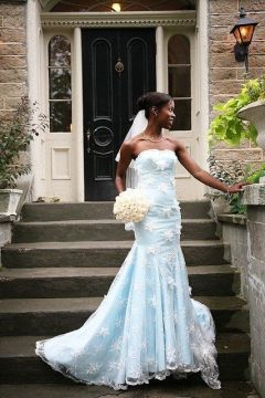 baby blue african wedding dress