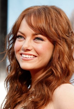 emma stone layered medium red hair