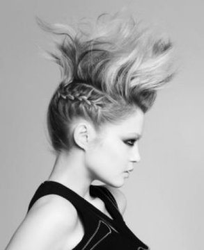 fierce half braided mohawk for medium hair