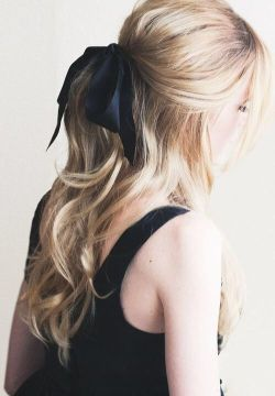 half up half down with bow
