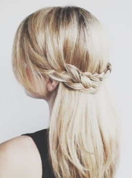half up half down with braid