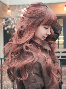 long wavy hair with bangs