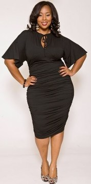 plus size lbd flared sleeves