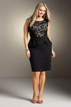 plus size peplum dress golden details