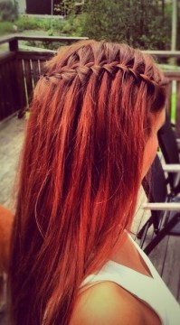 red hair waterfall braid