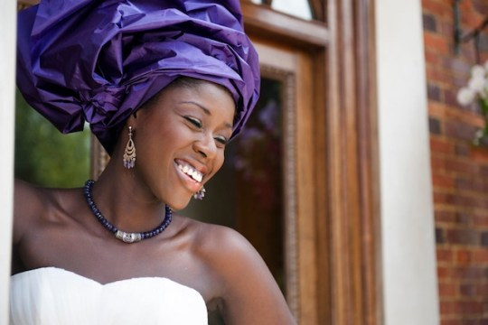 white dress purple gele