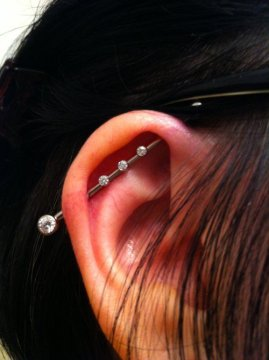 cute dainty industrial piercing