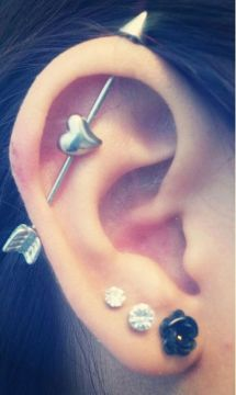 heart arrow industrial piercing
