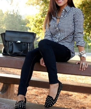 studded loafers skinny jeans