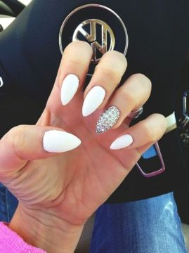 white nails with rhinestones