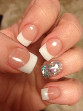 CND Solar Nail with large chunk glitter nail design