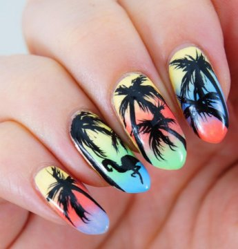 Palm-trees-nail-art