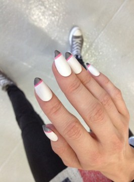 French pink and white nails