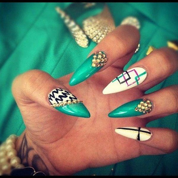 acrylic nail designs green stilettos - fmag.com
