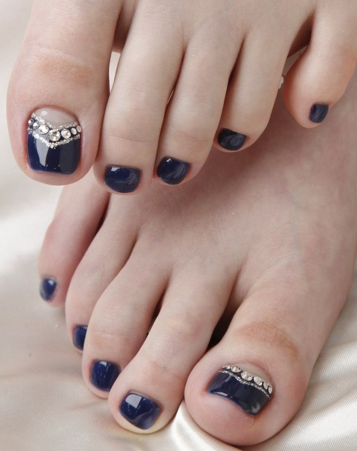 Toe Nail Designs Ideas sexy toe nail designs Dark Blue Pedi With Crystals