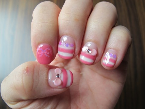 sweet pink and white nails