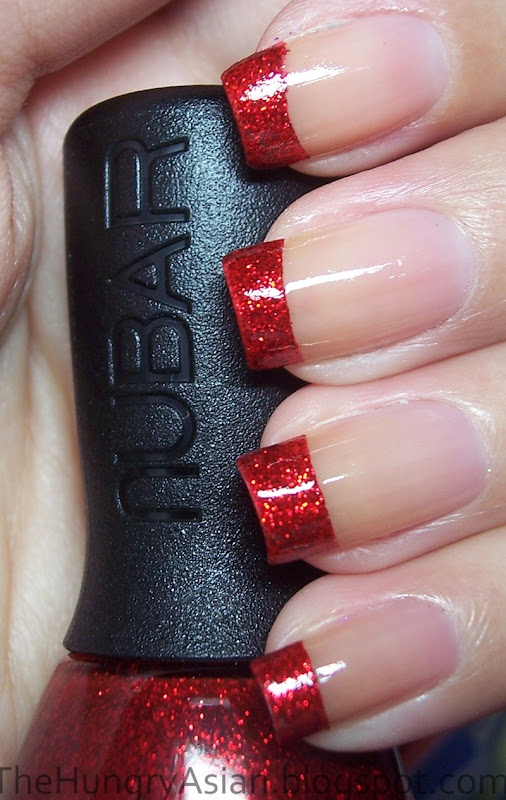 glitter red tips - 40 Red Nail Designs You'll Love, Get Creative! - FMag.com