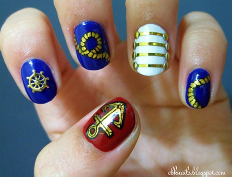 golden nautical nail art