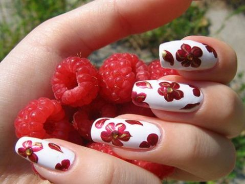 gorgeous red white floral manicure