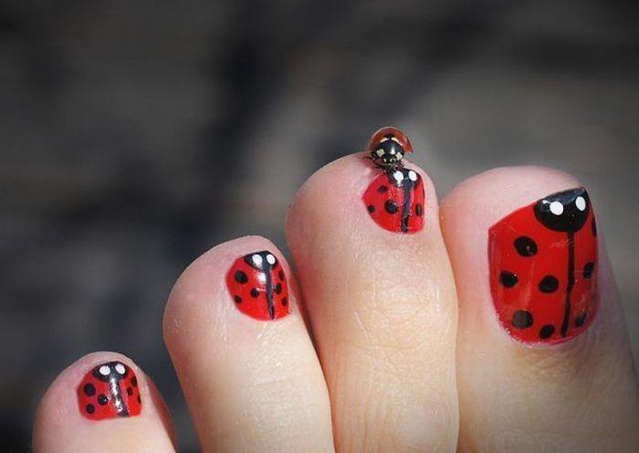 ladybug cute toe nail design - Ladybug Cute Toe Nail Design - FMag.com
